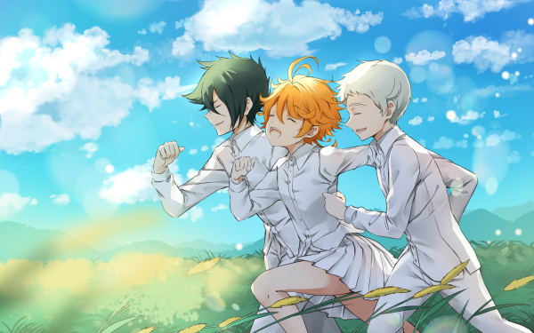 Anime The Promised Neverland Emma Norman Ray HD Wallpaper   Background Image
