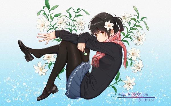 Anime Original Short Hair Black Hair Flower Orange Eyes Scarf Lollipop HD Wallpaper | Background Image