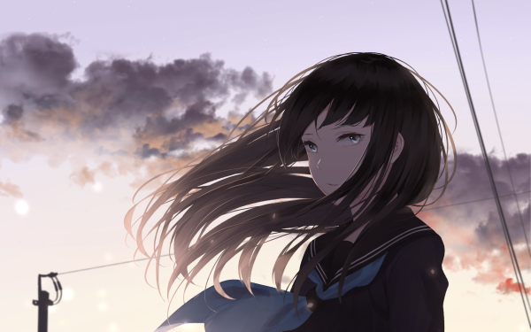 Anime Original Blue Eyes Brown Hair HD Wallpaper   Background Image