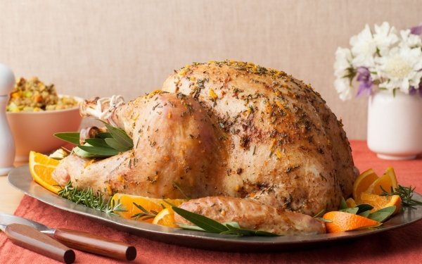 Alimento Pollo Roast orange Plate Fondo de pantalla HD | Fondo de Escritorio
