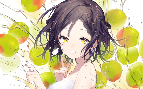 Anime Original Short Hair Brown Hair Braid Yellow Eyes Girl HD Wallpaper | Background Image