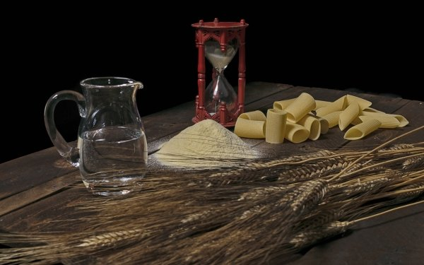 Food Pasta Pitcher Flour Still Life Hourglass Wheat HD Wallpaper | Background Image