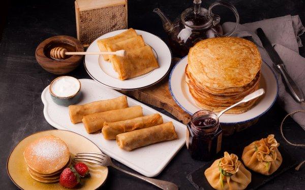 Alimento Crepe Panqueque Desayuno Bodegón Mermelada Fondo de pantalla HD | Fondo de Escritorio