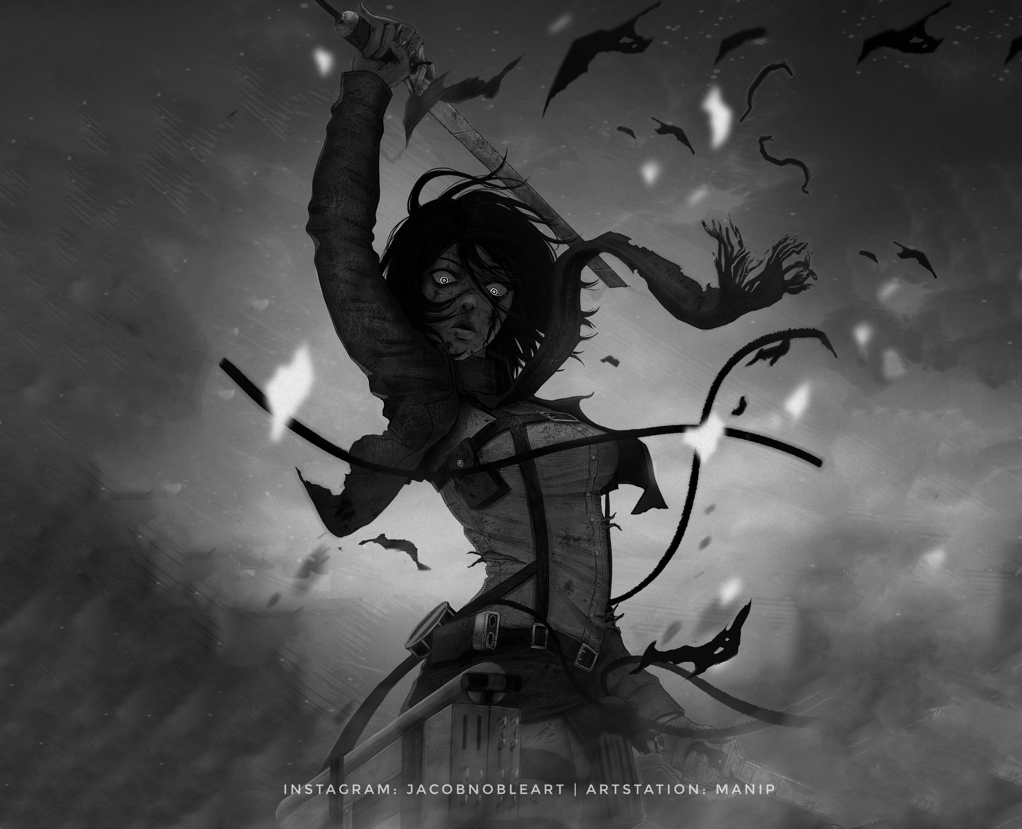 Mikasa Ackerman Hd Wallpaper Background Image 3348x2716 Id 1024257 Wallpaper Abyss