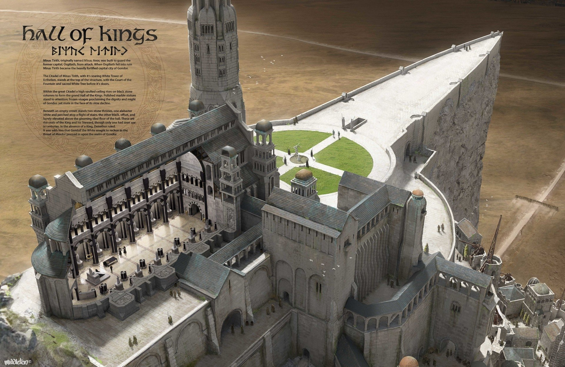 Lord Of The Rings Minas Tirith Hall Of Kings Cross Section