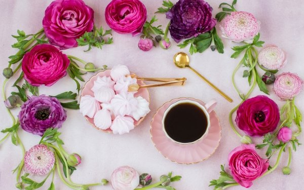 Food Tea Meringue Buttercup Still Life Flower Cup Pink Flower HD Wallpaper | Background Image