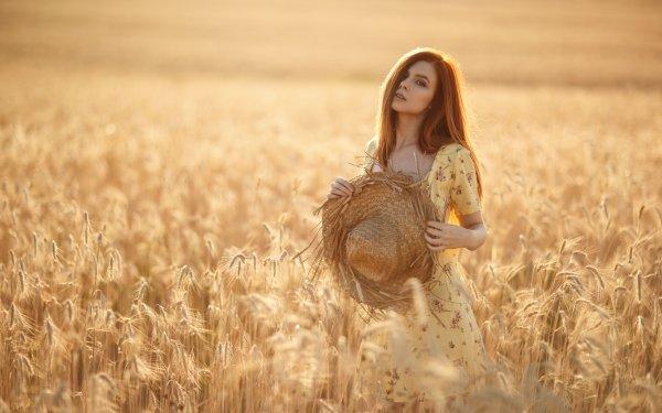 Women Model Models Wheat Hat Dress Redhead Depth Of Field Summer HD Wallpaper | Background Image