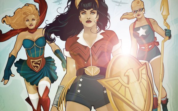 Comics DC Bombshells Wonder Woman Kara Zor‑El Courtney Whitmore HD Wallpaper | Background Image