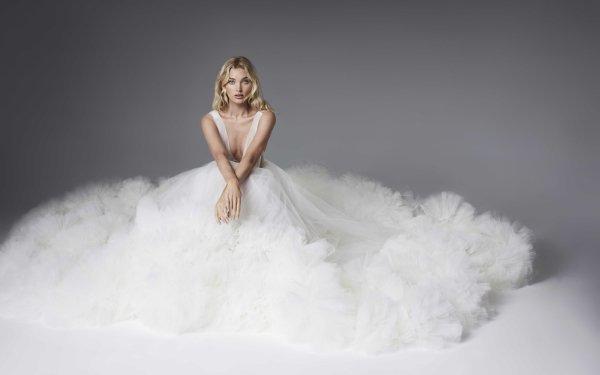 Celebrity Elsa Hosk Models Sweden Swedish Model Blonde White Dress HD Wallpaper   Background Image