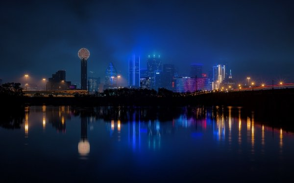 Man Made Dallas Cities United States Night City Texas USA Reflection Building HD Wallpaper   Background Image