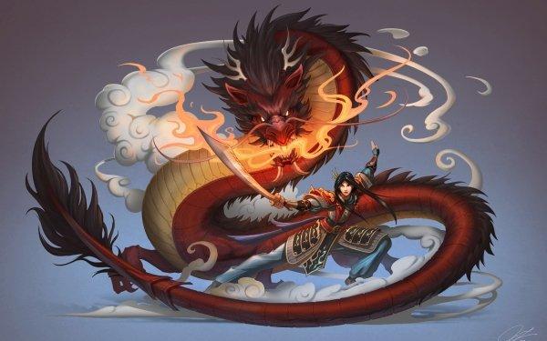 Fantasy Women Warrior Dragon Mulan Chinese Dragon Woman Warrior Sword HD Wallpaper | Background Image