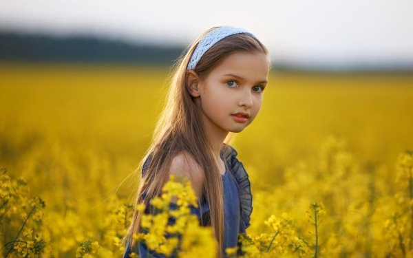 Photography Child Summer Little Girl Rapeseed Blonde Depth Of Field HD Wallpaper   Background Image