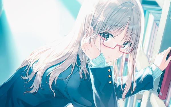 Anime Original Blonde Glasses Long Hair School Uniform Book Grey Eyes HD Wallpaper | Background Image