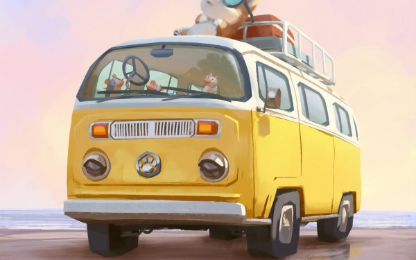 Vehicles Artistic Volkswagen Van Car Dog HD Wallpaper | Background Image