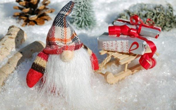Holiday Christmas Santa Gift Sled HD Wallpaper   Background Image