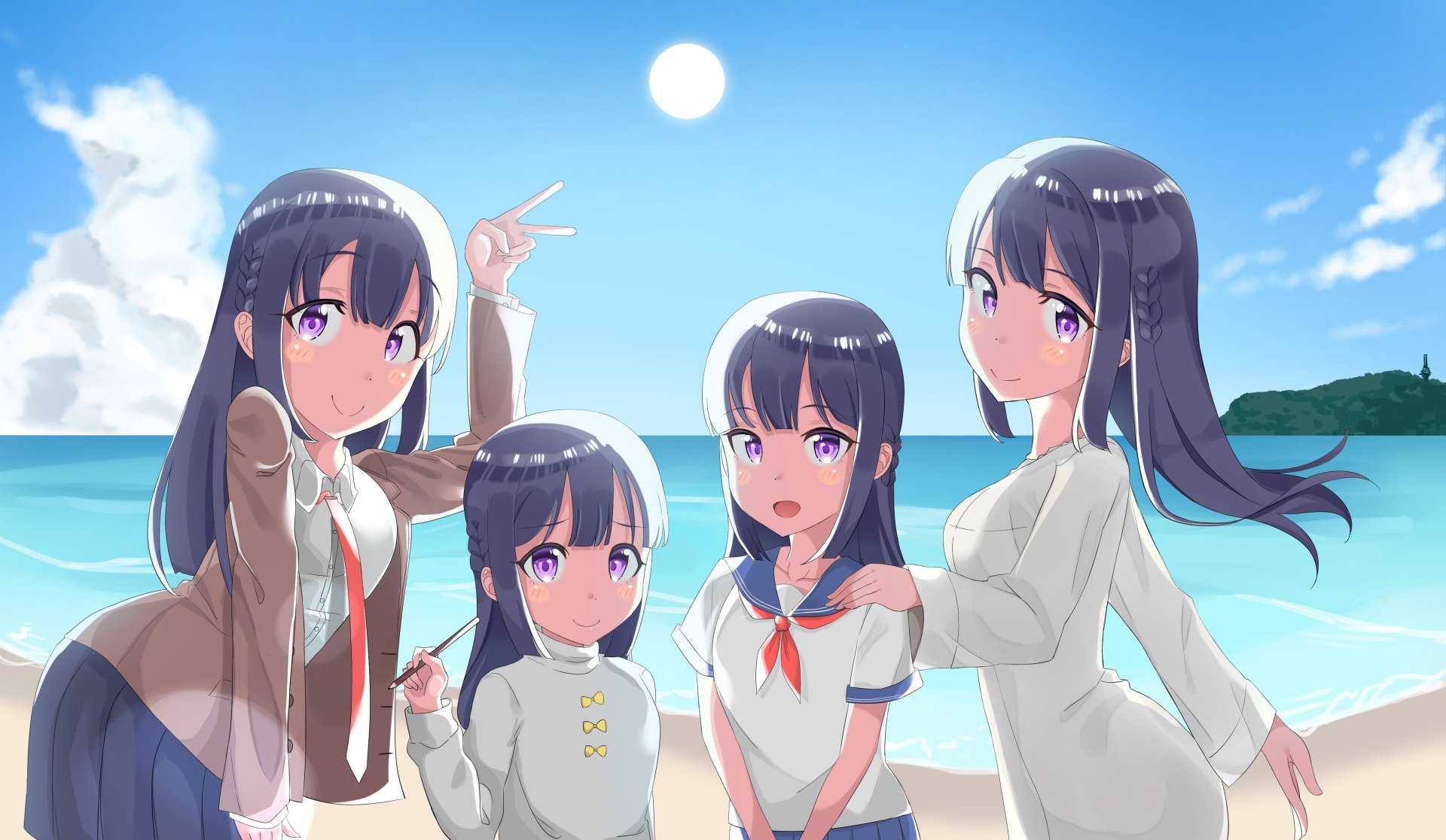 Anime Girls Beach Wallpaper HD 1920 x 1080 4k