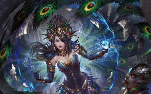 Jeux Vidéo Legend Of The Cryptids Magicienne Headdress Plume Black Hair Blue Eyes Fond d'écran HD | Image