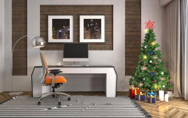 Holiday Christmas Christmas Tree Gift Furniture Decoration Studio HD Wallpaper | Background Image