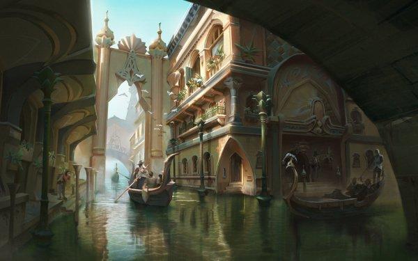 Fantasy City Canal Gondola HD Wallpaper | Background Image
