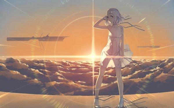 Anime Original Sunset Purple Eyes Grey Hair HD Wallpaper | Background Image