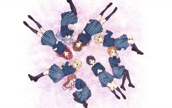 Anime 22/7 School Uniform Rubia Red Hair Black Hair Long Hair Short Hair White Hair Sakura Fujima Miyako Kono Akane Maruyama Nicole Saito Reika Sato Ayaka Tachikawa Miu Takigawa Jun Toda Fondo de pantalla HD | Fondo de Escritorio