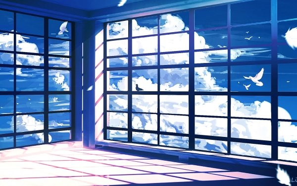 Anime Room Sky Bird Cloud HD Wallpaper | Background Image