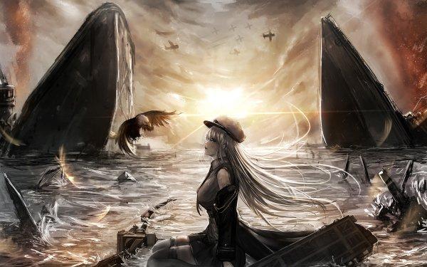 Anime Azur Lane Enterprise Long Hair White Hair Bird Warplane Ship Sunset HD Wallpaper | Background Image