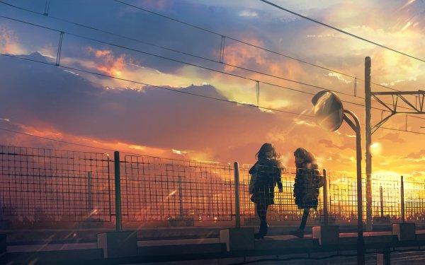 Anime Original Sky Sunset Mirror Walking HD Wallpaper | Background Image