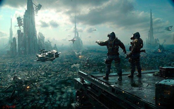 Sci Fi City Futuristic Vehicle Warrior HD Wallpaper   Background Image