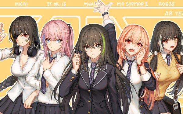 Video Game Girls Frontline M16a1 M4A1 ST AR-15 M4 Sopmod II RO635 Eye Patch Headphones HD Wallpaper | Background Image