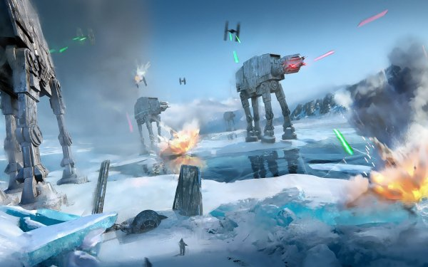 Sci Fi Star Wars AT-AT Walker TIE Fighter Hoth Battle HD Wallpaper | Background Image