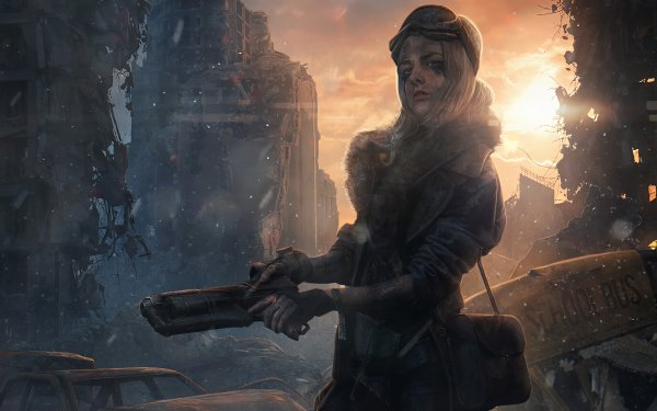 Sci Fi Post Apocalyptic Woman Warrior Weapon HD Wallpaper   Background Image