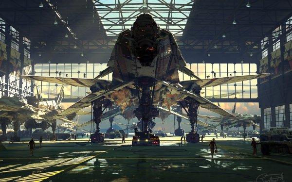 Sci Fi Spaceship Futuristic Hangar HD Wallpaper | Background Image
