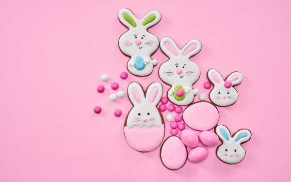 Food Cookie Pink Easter HD Wallpaper | Background Image