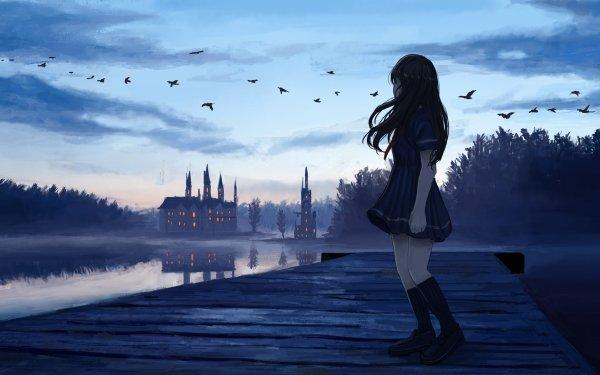 Anime Original Bird Lake Long Hair Cloud Sky Evening Pier HD Wallpaper | Background Image