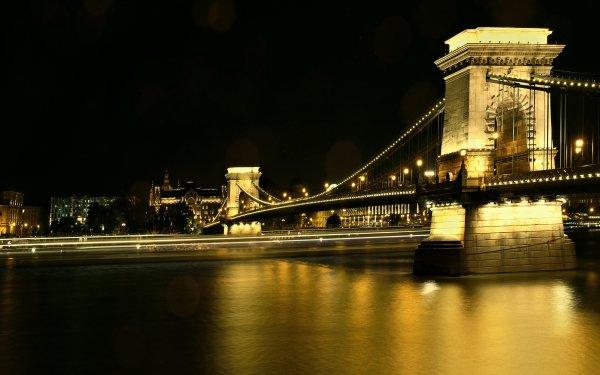 Man Made Chain Bridge Bridges Danube Night Hungary Budapest HD Wallpaper | Background Image