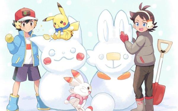 Anime Pokémon Ash Ketchum Goh Scorbunny Pikachu Snow Chico Black Hair Boots Blue Eyes Brown Eyes Fondo de pantalla HD | Fondo de Escritorio