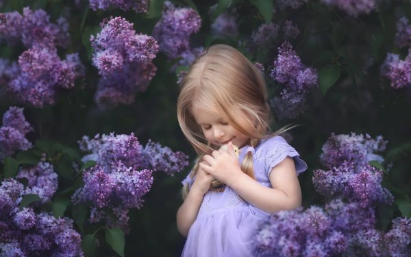 Photography Child Little Girl Cuddle Lilac Purple Flower HD Wallpaper | Background Image