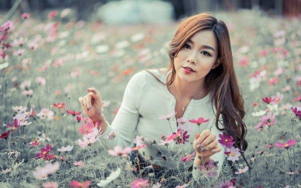 Women Asian Woman Model Depth Of Field Flower Brunette Long Hair Brown Eyes HD Wallpaper | Background Image