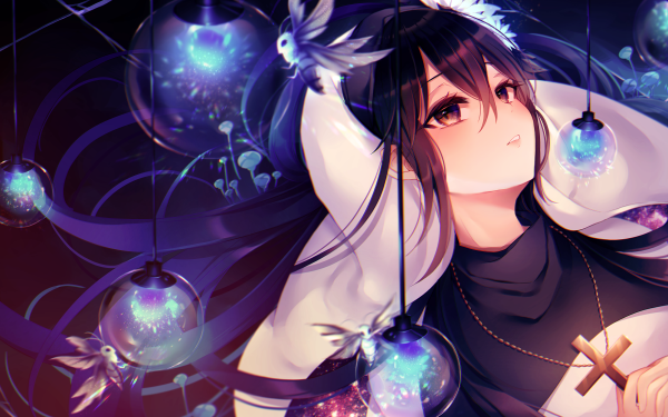 Anime Original Black Hair Cross Lamp HD Wallpaper   Background Image
