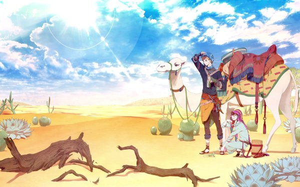 Anime Original Desert Camel Sky Cactus HD Wallpaper | Background Image