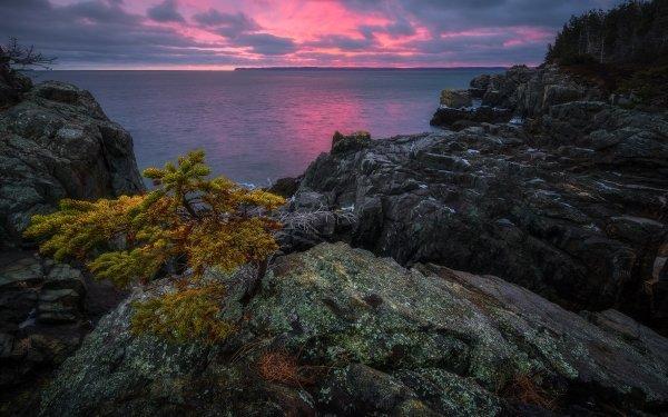 Earth Landscape Sunset Ocean Rock HD Wallpaper | Background Image