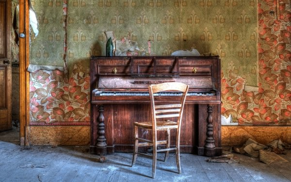 Music Piano Chair Room Abandoned HD Wallpaper | Background Image