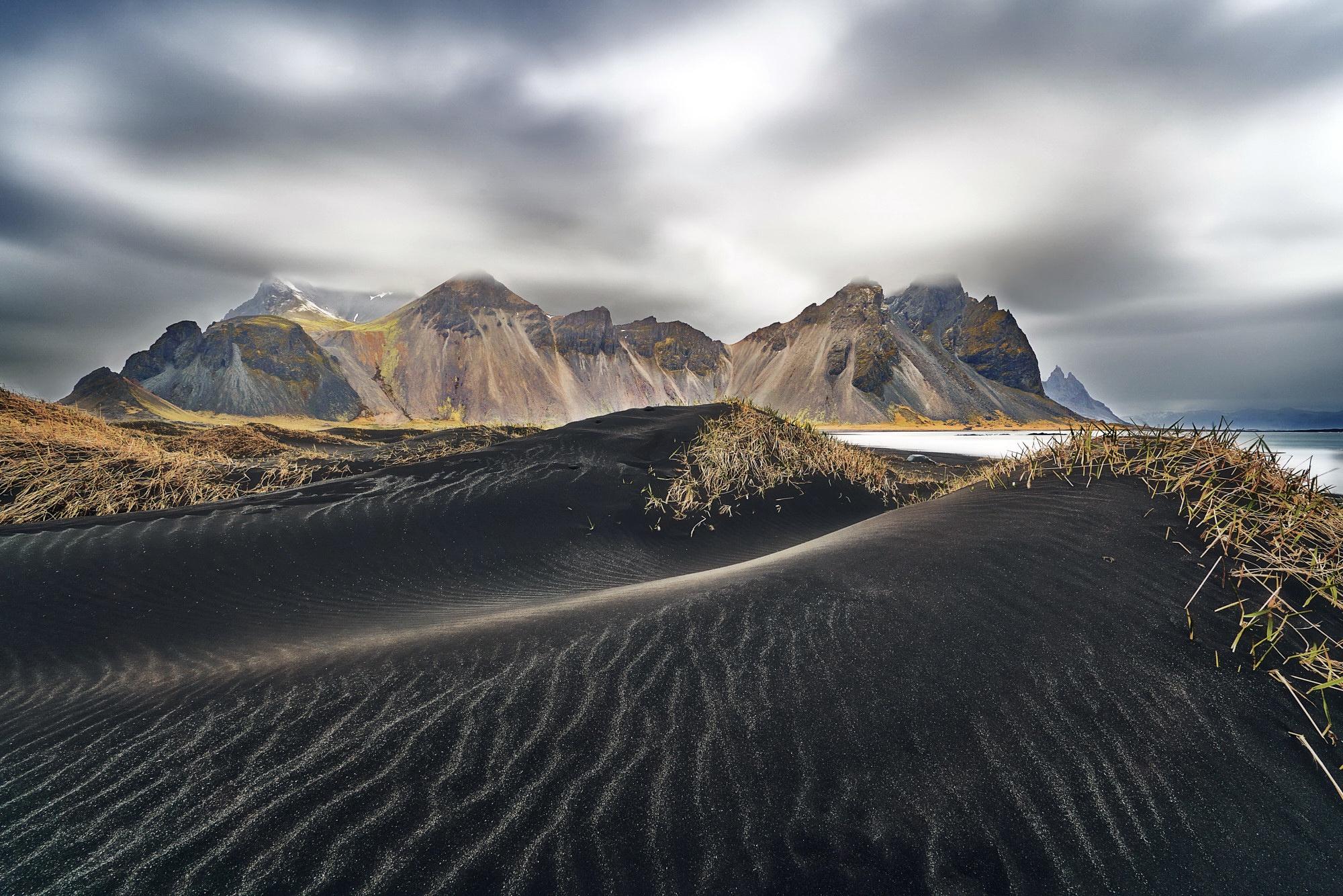 Обои берег, море, Vestrahorn Islande. Природа foto 16