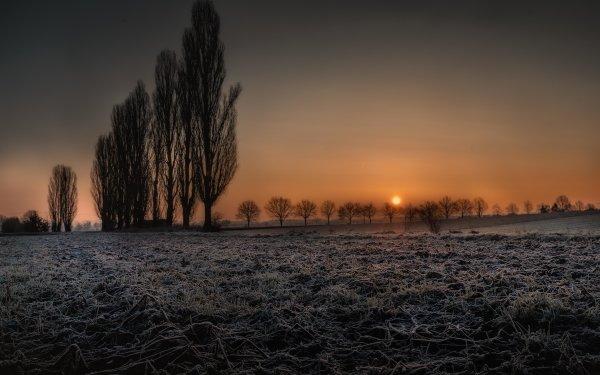 Earth Landscape Sunrise Frost Bavaria HD Wallpaper | Background Image