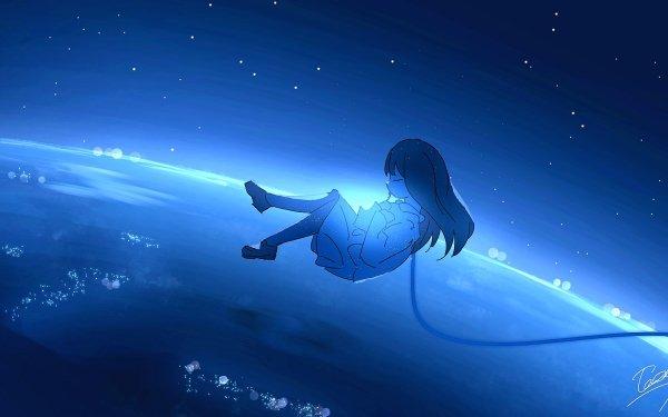 Anime Original Fille Ciel Long Hair Falling Fond d'écran HD | Arrière-Plan