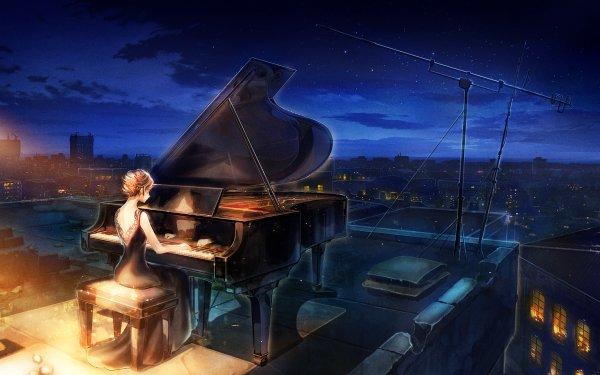 Anime Original Pianist Piano Night Starry Sky HD Wallpaper   Background Image