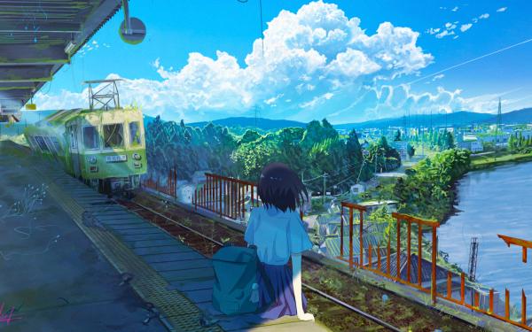 Anime Original Train Lake Train Station HD Wallpaper | Background Image
