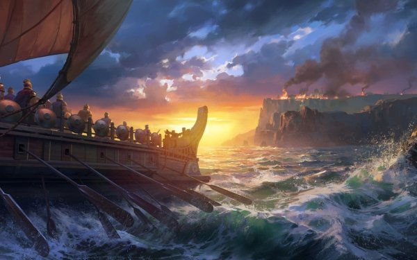 Fantasy Ship Warrior Viking HD Wallpaper   Background Image