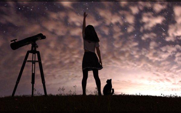 Anime Girl Cat Sky HD Wallpaper | Background Image